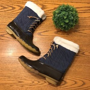 Sperry Stone Blue Quilted Duck Boots Size 6/6.5